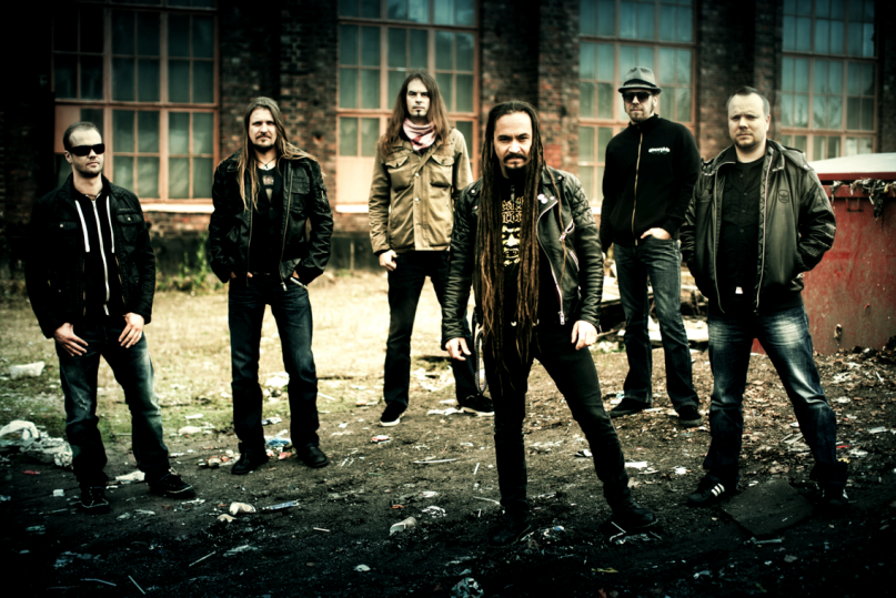 Horns Up Rocks Amorphis Group Shot 2013